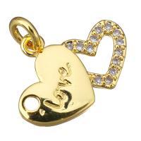 Цирконий Micro Pave латунь подвеска, Латунь, Сердце, слова любви, плакированный настоящим золотом, инкрустированное микро кубического циркония, 17x13x2mm, отверстие:Приблизительно 3mm, 20ПК/Лот, продается Лот