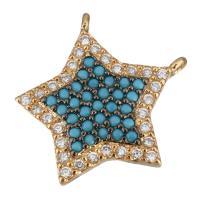 Цирконий Micro Pave латунь подвеска, Латунь, Звезда, плакированный настоящим золотом, инкрустированное микро кубического циркония & двойное отверстие, 15.50x17x2.50mm, отверстие:Приблизительно 1mm, 10ПК/Лот, продается Лот