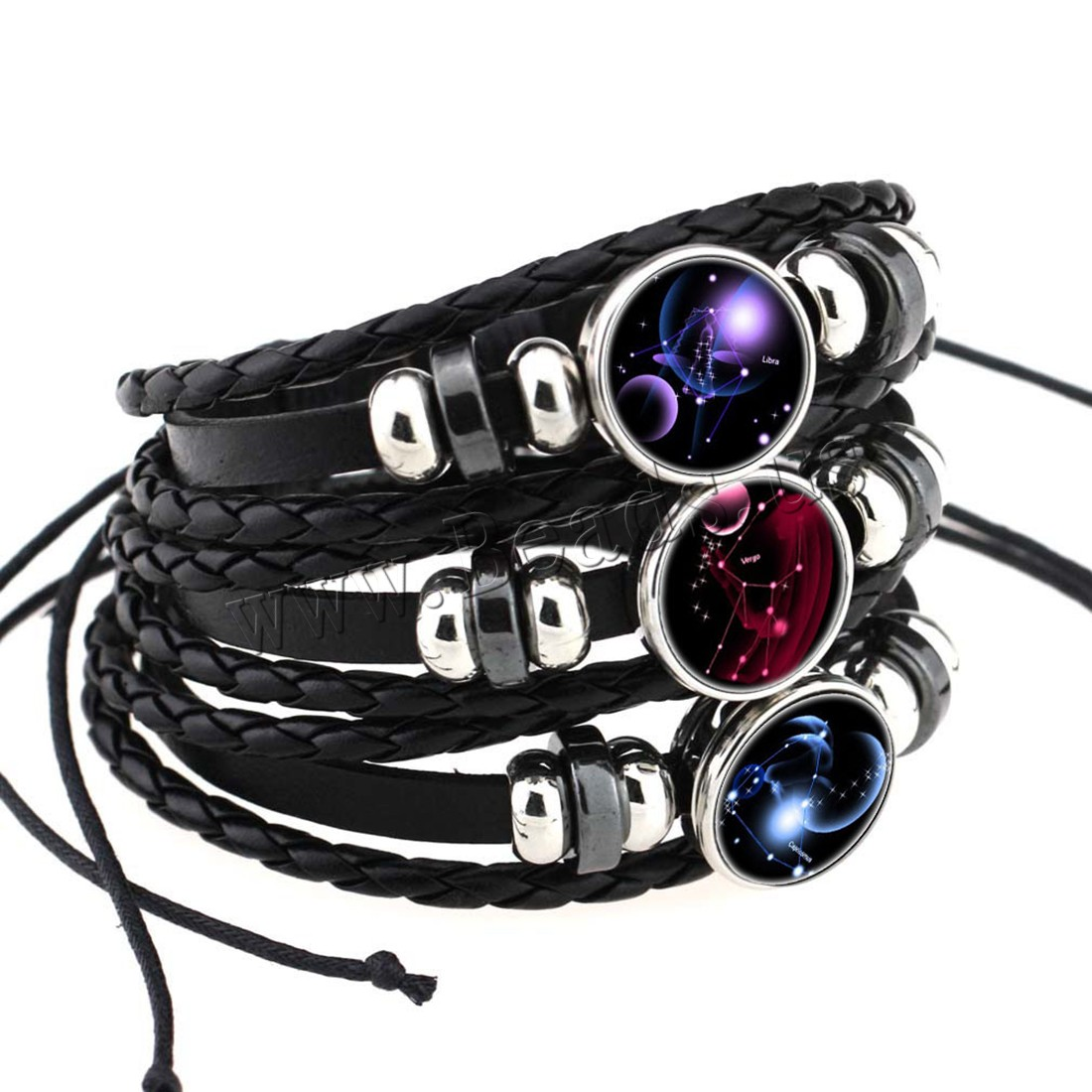Buy Unisex Bracelet Cowhide Paper & Glass & Zinc Alloy 2.5inch extender chain plated time gem jewelry & constellation symbols & adjustable & different designs choice & 3-strand nickel lead & cadmium free 18mm Sold Per Approx 7.5-11 Inch Strand