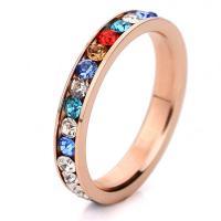 Кольца с кристаллами, титан, с Кристаллы, разный размер для выбора & Женский, под розовое золото, 3mm, продается PC