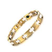 Фарфор браслет, Вольфрама сталь, с фарфор, плакированный настоящим золотом, Гигиеническое & Женский, 8mm, Продан через Приблизительно 7.5 дюймовый Strand
