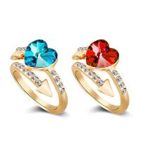 Кольца с кристаллами, цинковый сплав, с Кристаллы, Сердце, плакированный цветом розового золота, Женский & со стразами, Много цветов для выбора, 8x9mm, размер:7.5, продается PC