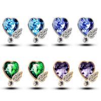 Кольца с кристаллами, цинковый сплав, с Кристаллы, Сердце, Другое покрытие, Женский & со стразами, Много цветов для выбора, 12x14mm, продается Пара