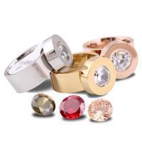 Кольца с кристаллами, титан, с Кристаллы, Другое покрытие, разный размер для выбора & Женский, Много цветов для выбора, 14x8x2mm, продается PC