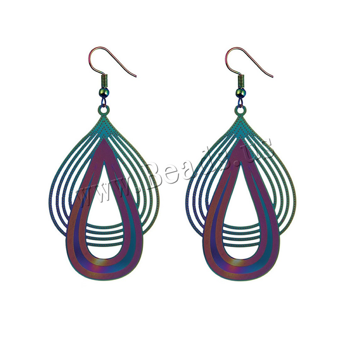 Buy Stainless Steel Drop Earring iron earring hook plated painted & woman colors choice nickel lead & cadmium free 55x35mm Sold Pair