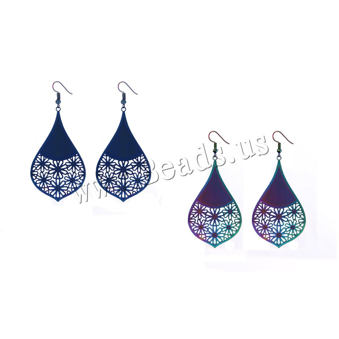 Buy Stainless Steel Drop Earring iron earring hook plated painted & woman colors choice nickel lead & cadmium free 58x35mm Sold Pair