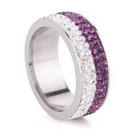 Пальцевидное Кольцо Титановой Стали, титан, с Кристаллы, Другое покрытие, разный размер для выбора & Женский, Много цветов для выбора, 7mm, продается PC