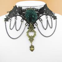 Готический ожерелье, цинковый сплав, с Кружево, с 8cm наполнитель цепи, Покрытие под бронзу старую, Женский, 10cm, Продан через Приблизительно 12.5 дюймовый Strand