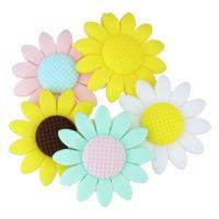 Силиконовые шарики, Силикон, Форма цветка, Одобрение FDA, Много цветов для выбора, 40x10mm, отверстие:Приблизительно 2mm, 20ПК/Лот, продается Лот