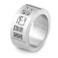 Пальцевидное Кольцо Титановой Стали, титан, разный размер для выбора & Женский & со стразами, оригинальный цвет, 9mm, продается PC