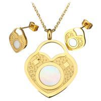 Серьги из ракушки, серьги & ожерелье, нержавеющая сталь, с Белая ракушка, с 2.5Inch наполнитель цепи, Замок, плакирован золотом, Овальный цепь & Женский, 25x34mm, 2mm, 11x14mm, длина:Приблизительно 18 дюймовый, продается указан
