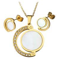 Серьги из ракушки, серьги & ожерелье, нержавеющая сталь, с Белая ракушка, с 2.5Inch наполнитель цепи, плакирован золотом, Овальный цепь & Женский & со стразами, 25x29mm, 1.5mm, 11x12mm, длина:Приблизительно 18 дюймовый, продается указан