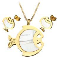 Серьги из ракушки, серьги & ожерелье, нержавеющая сталь, с Белая ракушка, с 2.5Inch наполнитель цепи, Рыба, плакирован золотом, Овальный цепь & Женский, 28x32mm, 1.5mm, 11x12mm, длина:Приблизительно 18 дюймовый, продается указан