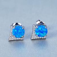 Серьги из камня, Латунь, с Голубой опал, Платиновое покрытие платиновым цвет, Женский & с кубическим цирконием, не содержит никель, свинец, 7x16mm, продается Пара