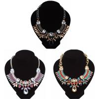 Кристалл ожерелье с цинковым сплавом, цинковый сплав, с Кристаллы, с 2inch наполнитель цепи, Другое покрытие, твист овал & Женский & граненый & со стразами, Много цветов для выбора, не содержит никель, свинец, Продан через Приблизительно 15.7 дюймовый Strand