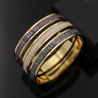 нержавеющая сталь браслет на запястье/щиколотку, с Природный кварцевый, плакирован золотом, Женский & граненый, Много цветов для выбора, внутренний диаметр:Приблизительно 58mm, длина:Приблизительно 7.1 дюймовый, продается PC