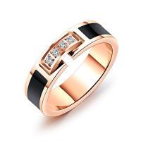 Пальцевидное Кольцо Титановой Стали, титан, плакированный цветом розового золота, разный размер для выбора & Женский & эмаль & с кубическим цирконием, 5mm, продается PC