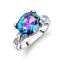 Кольца с кристаллами, цинковый сплав, с Кристаллы, покрытый платиной, разный размер для выбора & Женский & граненый, 13mm, продается PC