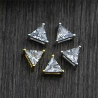 Коннекторы из серебра , Серебро 925 пробы, Треугольник, Другое покрытие, Многоканальный & со стразами, Много цветов для выбора, 6.30x4mm, отверстие:Приблизительно 3.5mm, 10ПК/Лот, продается Лот