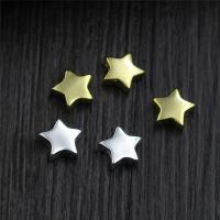 Коннекторы из серебра , Серебро 925 пробы, Звезда, Другое покрытие, Многоканальный, Много цветов для выбора, 6mm, отверстие:Приблизительно 1mm, 10ПК/Лот, продается Лот