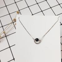Ожерелье из агата, Серебро 925 пробы, с Черный агат, с 1.1lnch наполнитель цепи, натуральный, змея цепи & Женский, 16x13mm, Продан через Приблизительно 15.7 дюймовый Strand