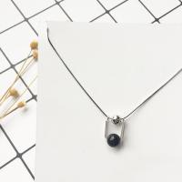 Ожерелье из агата, Серебро 925 пробы, с Черный агат, с 1.1lnch наполнитель цепи, натуральный, змея цепи & Женский, Продан через Приблизительно 15.7 дюймовый Strand