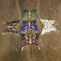 Подвески из перегородчатой эмали, клуазоне, бабочка, Позолоченные 24k, Много цветов для выбора, 30x27mm, отверстие:Приблизительно 1mm, 10ПК/сумка, продается сумка