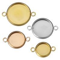 нержавеющая сталь основа под коннектор-кабошон, Плоская круглая форма, Другое покрытие, разный размер для выбора & 1/1 петля, Много цветов для выбора, отверстие:Приблизительно 1.5mm, 100ПК/Лот, продается Лот