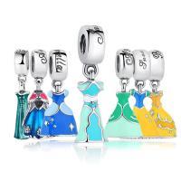 Серебро 925 пробы Подвеска-Европейская стиль, платье, разные стили для выбора & Женский & Эпоксидная стикер & без Тролль, 12x27mm, продается PC