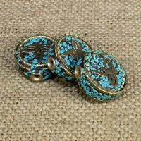Индонезия бусины, с Синтетическая бирюза & Латунь, Плоская круглая форма, 18x18mm, отверстие:Приблизительно 1-2mm, 10ПК/сумка, продается сумка