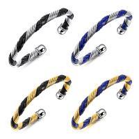 титан браслет-манжеты, с Искусственная кожа, Другое покрытие, Мужская, Много цветов для выбора, 6mm, внутренний диаметр:Приблизительно 57mm, продается PC