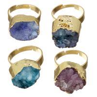 Ледниковый кварц-агат Кольцо, с Латунь, плакирован золотом, природный & druzy стиль & Женский, Много цветов для выбора, 14-16x12-14mm, размер:6, продается PC