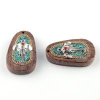 Деревянные Подвески, деревянный, с Индонезия & цинковый сплав, Слон, плакированный цветом под старое серебро, 53x32mm, отверстие:Приблизительно 1-2mm, продается PC