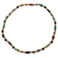 Ожерелья из драгоценных камней, нержавеющая сталь, с Царский джаспер, плакирован золотом, Женский, 12x4.5mm, 6mm, Продан через Приблизительно 15 дюймовый Strand