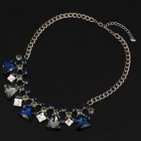 Кристалл ожерелье с цинковым сплавом, цинковый сплав, с Кристаллы, черный свнец, Женский & граненый, не содержит свинец и кадмий, 45mm, Продан через Приблизительно 17 дюймовый Strand