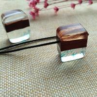 Подвески из смолы, канифоль, с деревянный, Мужская, очистить, 27x23x13mm, отверстие:Приблизительно 2-4mm, продается PC