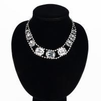 Ожерелья из стекла, цинковый сплав, с Стеклянный, Платиновое покрытие платиновым цвет, Женский, не содержит свинец и кадмий, 25x20mm, Продан через Приблизительно 16 дюймовый Strand