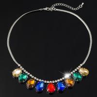 Ожерелья из стекла, цинковый сплав, с Стеклянный, Платиновое покрытие платиновым цвет, Женский, не содержит свинец и кадмий, 30mm, Продан через Приблизительно 17.5 дюймовый Strand