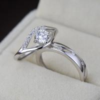 Пара кольца перста, Серебро 925 пробы, покрытый платиной, открыть & регулируемый & с кубическим цирконием, размер:6-10, продается Пара