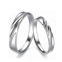 Пара кольца перста, Серебро 925 пробы, покрытый платиной, открыть & регулируемый, размер:6-10, продается Пара