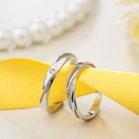 Пара кольца перста, Серебро 925 пробы, покрытый платиной, открыть & регулируемый & инкрустированное микро кубического циркония, размер:6-10, продается Пара