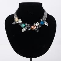 Ожерелья из стекла, цинковый сплав, с Стеклянный, черный свнец, Женский & граненый, Много цветов для выбора, не содержит свинец и кадмий, 42mm, Продан через Приблизительно 16.5 дюймовый Strand