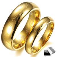 Пара кольца перста, Вольфрама сталь, плакирован золотом, разный размер для выбора & для пара, 6mm, Приблизительно 2ПК/указан, продается указан