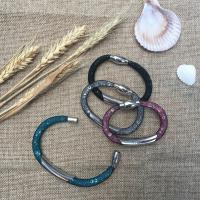 Кристаллы Сетка браслет, с Пластиковый чистый шнурок, Другое покрытие, Женский & граненый, много цветов для вабора, Продан через Приблизительно 7 дюймовый Strand