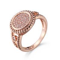 Кубический циркон микро проложить кольцо-латунь, Латунь, плакированный цветом розового золота, Мужская & разный размер для выбора & инкрустированное микро кубического циркония, не содержит никель, свинец, продается PC