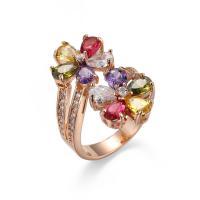 Кубик циркония в латуни, Латунь, плакированный цветом розового золота, Мужская & разный размер для выбора & с кубическим цирконием, не содержит никель, свинец, продается PC