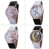 Искусственная кожа браслет для часов, с Стеклянный & цинковый сплав, плакированный цветом розового золота, Мужская & Рождественские украшения & регулируемый & различные модели для выбора, не содержит никель, свинец, 40x7mm, длина:Приблизительно 9.4 дюймовый, продается PC