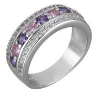 Кубический циркон микро проложить кольцо-латунь, Латунь, покрытый платиной, разный размер для выбора & Женский & с кубическим цирконием, 8mm, продается PC