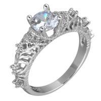 Кубический циркон микро проложить кольцо-латунь, Латунь, покрытый платиной, разный размер для выбора & Женский & с кубическим цирконием, 6mm, продается PC