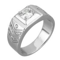 Кубический циркон микро проложить кольцо-латунь, Латунь, покрытый платиной, Мужская & разный размер для выбора & с кубическим цирконием, 9mm, продается PC